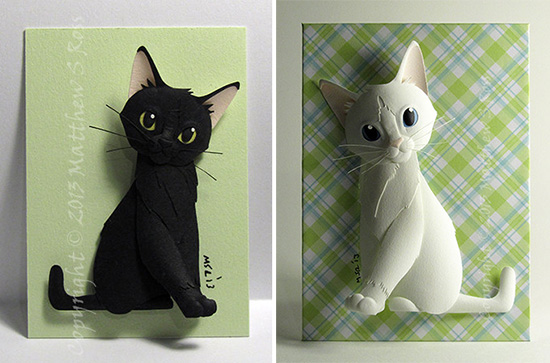 Paper cat sculptures by Matthew Ross