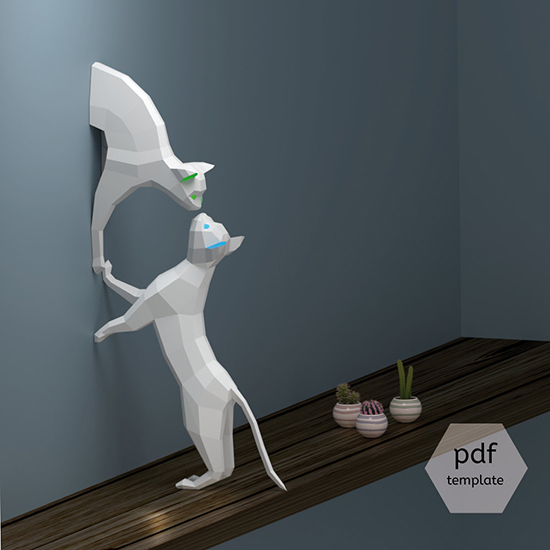 Downloadable DIY Cat Papercraft Project from Oxygami