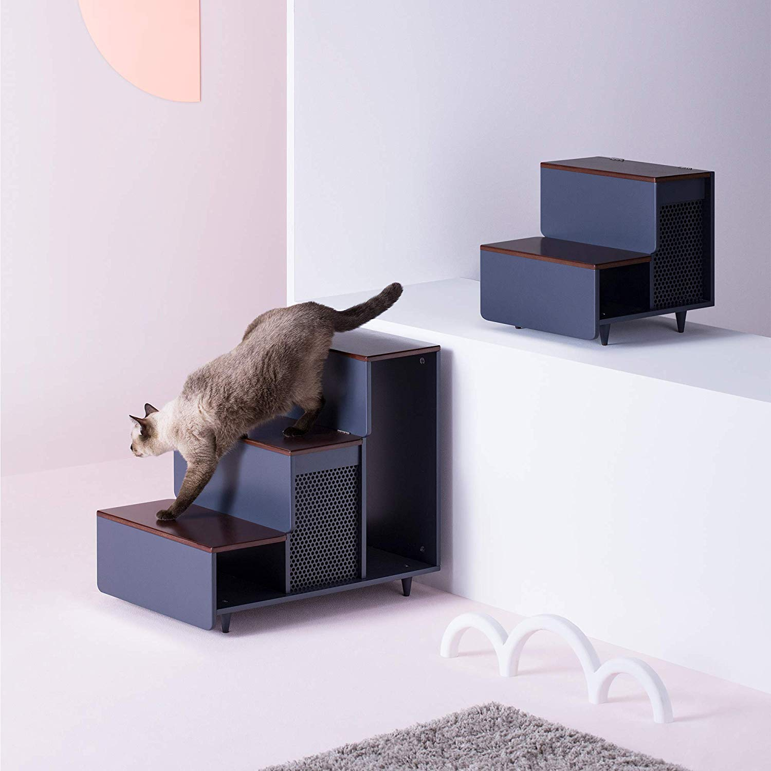 Mod-century Modern Wood Pet Steps with Storage