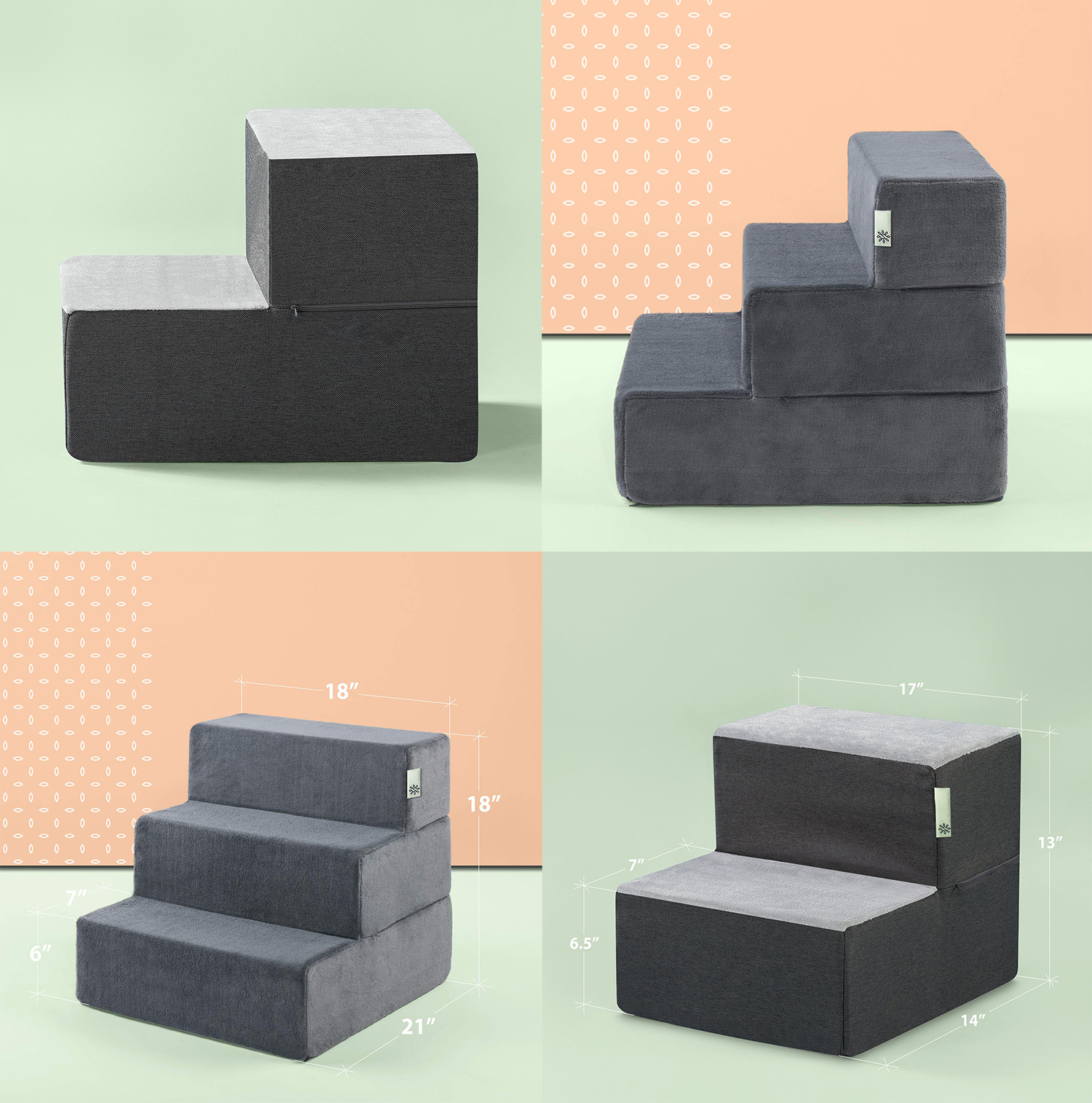 Modern Grey Foam Pet Steps