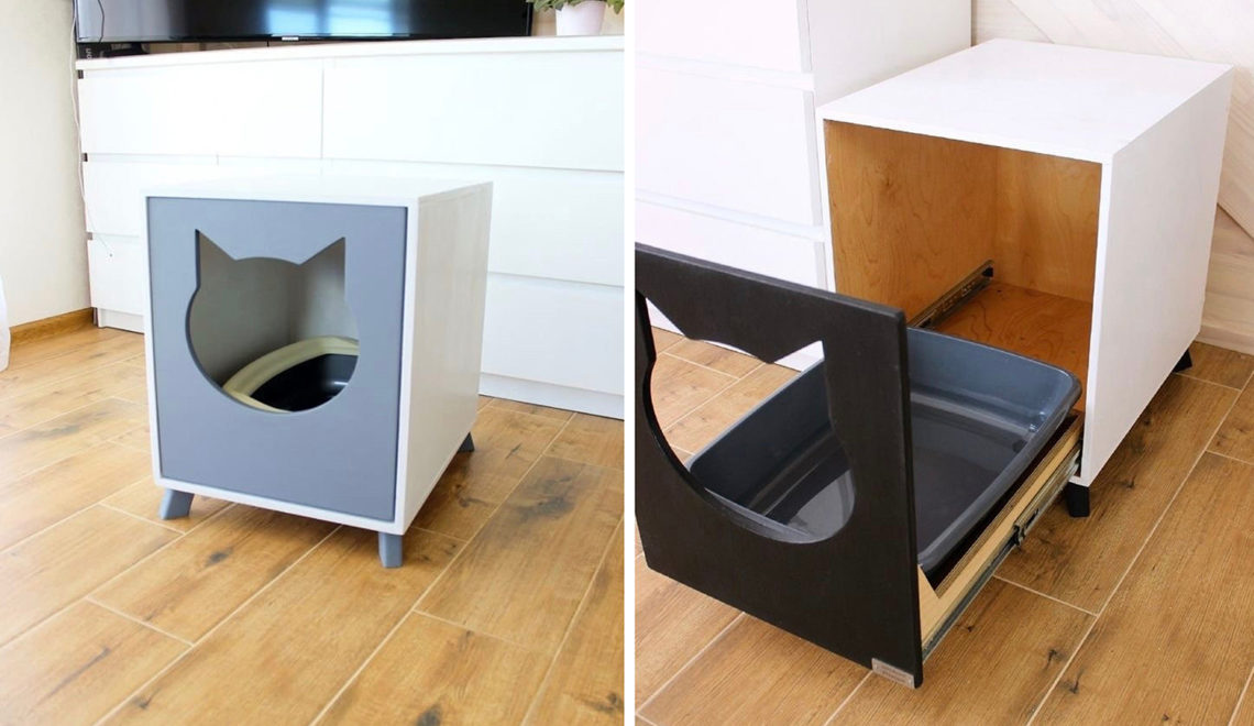 Modern Cat Litter Hider with Slide-out Tray