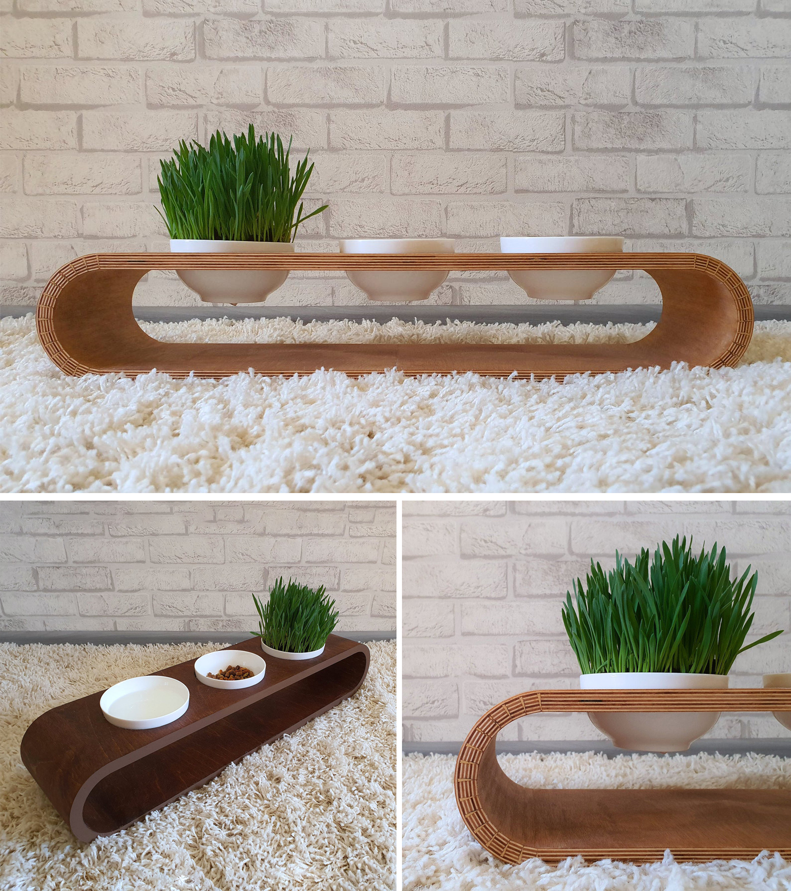 Modern raised bent wood pet feeder with three bowls